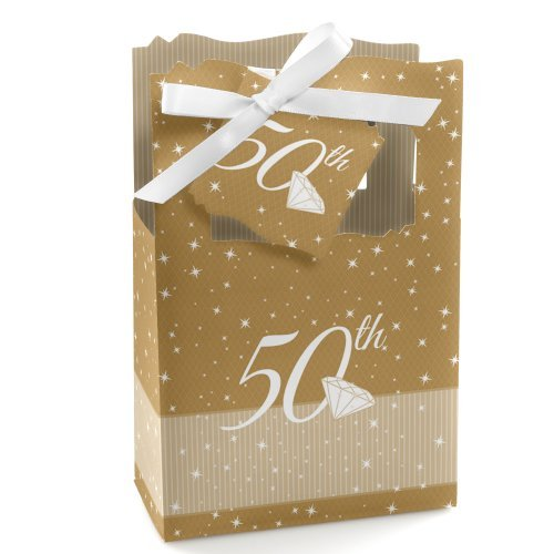 Happiness Wedding Favor - Big Dot of Happiness 50th Wedding Anniversary - Gold - Party Favor Boxes - Set of 12
