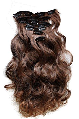 PRETTYSHOP XL Set 7 piezas SET Clip en extensiones La extension del pelo Un postizo resistente al calor corrugado mezclar marron # 4T30 CE9-1