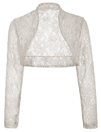 Womens Cocktail Dress Shrug Lace Cardigan (S,Gray BP49)