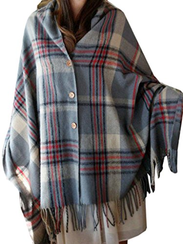Choies Womens Plaid Button Fringed