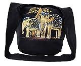 Hippie Hobo Sling Crossbody Bag Messenger Purse Hand Painted Thai Elephant (Couple Elephants)