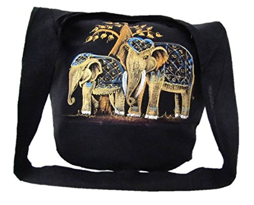Hippie Hobo Sling Crossbody Bag Messenger Purse Hand Painted Thai Elephant (Couple Elephants) by Blue Orchid