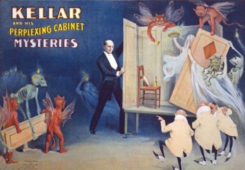M3 Vintage 1894 Kellar His Perplexing Cabinet Magic Magician Show Poster A4