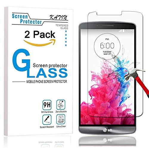 LG G3 Screen Protector - KATIN [2-Pack] LGG3 Premium Tempered Glass 2.5D Round Edge , 3D Touch Compatible , 9H Hardness with Lifetime Replacement Warranty