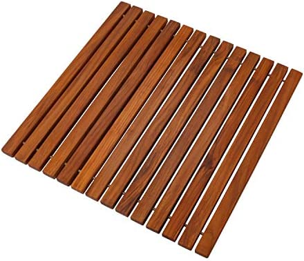 Nordic Style Teak Shower and Bath String Mat – Heavy-Duty and Dark-Oiled for Indoor and Outdoor Use – Non-Slip Wooden Platform for Sauna, Pool, Hot Tub – 19.6 x 19.6-Inch Flooring Decor and Protector