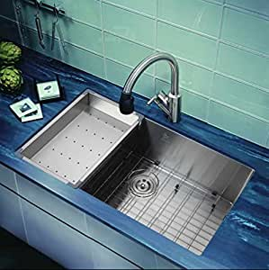 "Starstar 30"" Single Bowl Undermount 304 Stainless Steel Kitchen Sink With Set"