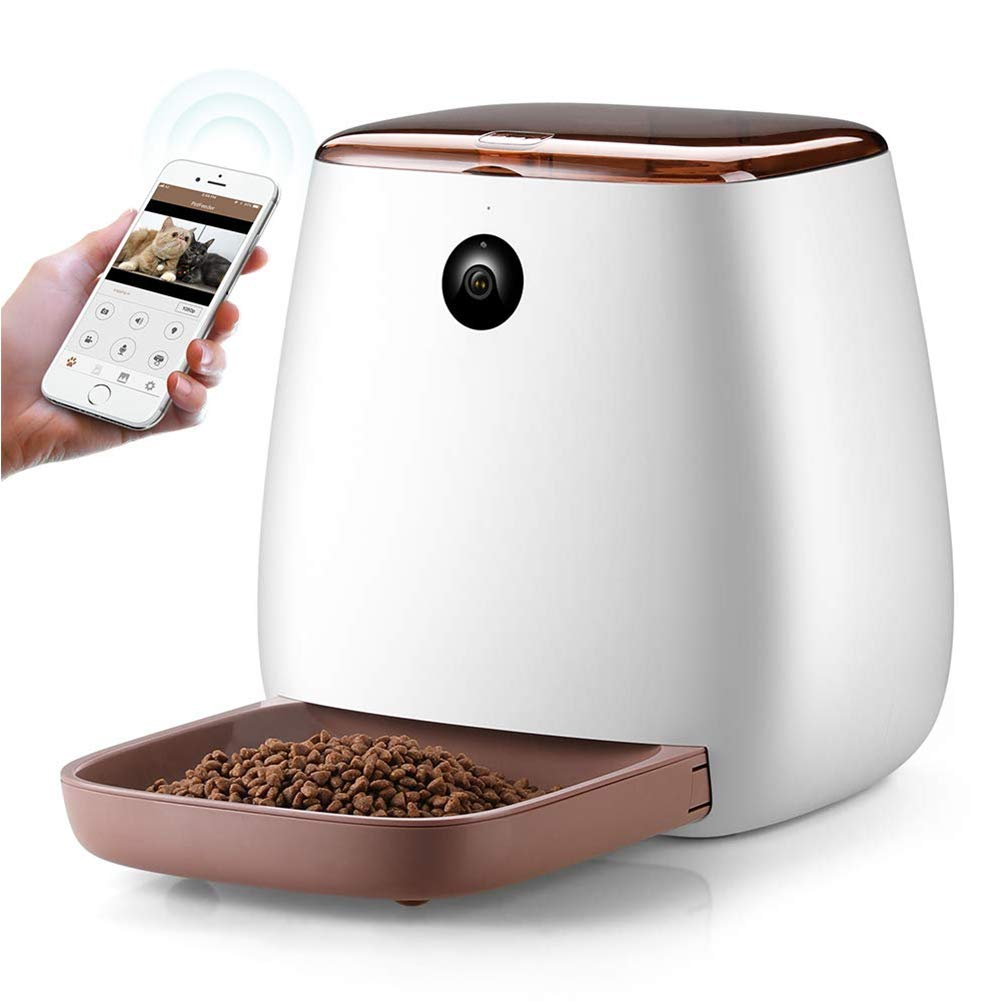 Cacoffay Automatic Pet Feeder Dog Cat Food Dispenser with Voice Recording, Features Distribution Alarms, Portion Control and Timer Programmable, Wi-Fi Enabled App for Smartphone