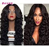Glueless Full Lace Human Hair Wigs for Black Women Virgin Mongolian Human Hair Loose Bouncy Wave Lace Wig with Bleached Knots Baby Hair Free Part 24inch 130Density (22inch)
