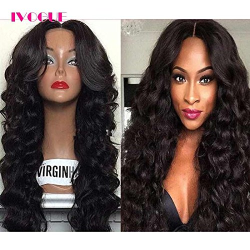 Glueless Full Lace Human Hair Wigs for Black Women Virgin Mongolian Human Hair Loose Bouncy Wave Lace Wig with Bleached Knots Baby Hair Free Part 24inch 130Density (22inch) by iVogue Hair