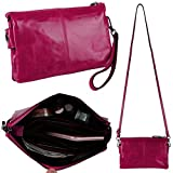 YALUXE Women's Large Capacity Leather Wristlet Clutch Small Shoulder Bag with 6 Card Slots Dark Pink
