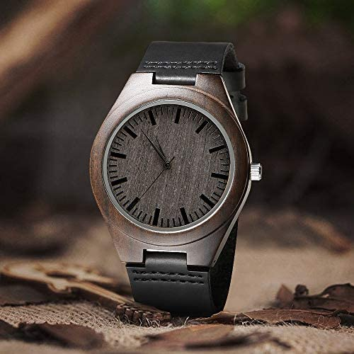 Engraved Custom Men Wood Watch,Analog Quartz Black Leather Handmade Sandalwood Natural Custom Wood Watch for Son Husband Anniversary Christmas Gifts for Son from Dad