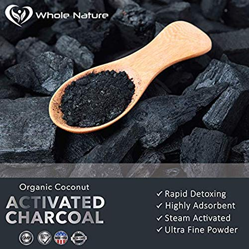 Whole Nature 180 Capsules Pure Organic Coconut Activated Charcoal Supplements Natural Pills for Body Detox Digestive System Teeth Whitening Detoxification Gas Stomach Bloating Tablets by Whole Nature (Image #4)