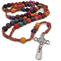 Rosary Beads Cross Antique Rose Rosary Necklace Beads Catholic Religious Rosaries