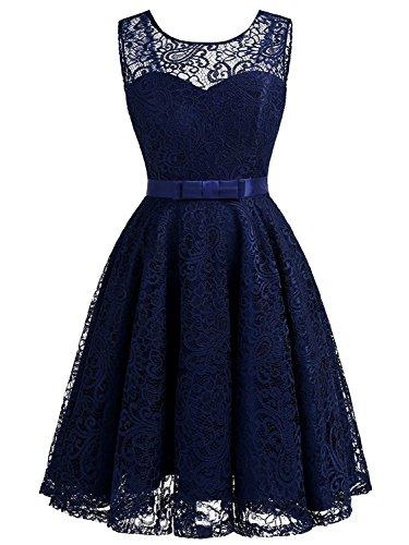 aus CSD428 Damen Lace Marineblau Ärmellos kurz Abendkleider Clearbridal Ballkleider Abschusskleider Faltenrock zx0UqzdS