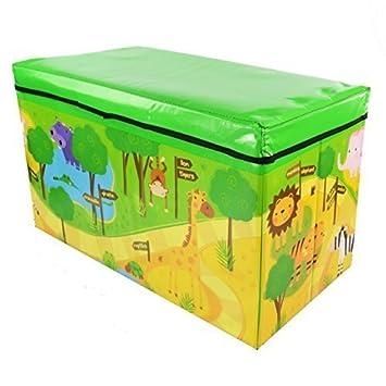 Zizzi - Niños infantil almacenaje grande juguete caja chicos chicas libros pecho ropa asiento taburete shopmonk (zoológico): Amazon.es: Juguetes y juegos