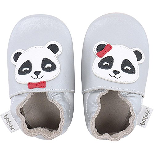 Bobux Panda Silver Leather Baby Soft Soles Silver