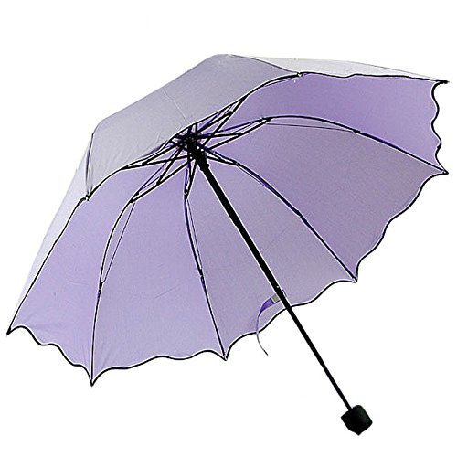 Balinese Decorative Umbrella (AMAZZANG-New Flouncing Folding Lotus Leaves Princess Dome Parasol Sun/Rain Umbrella (PURPLE))
