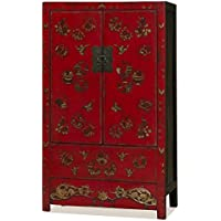 China Furniture Online Elmwood Red Armoire with Hand Painted Butterfly Design