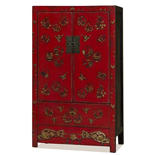 China Furniture Online Elmwood Red Armoire with Hand Painted Butterfly Design by ChinaFurnitureOnline