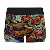 InterestPrint Boxer Briefs Men's Underwear Cowboy Boot, A Titmouse and A Bouquet of Tulips and Irises M