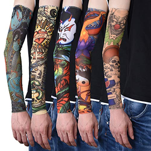 Sealike 20 Pcs Super Cool Fake Temporary Tattoo Sleeves Body Art Arm Stockings Arm Warmers for Women and Men with a Stylus