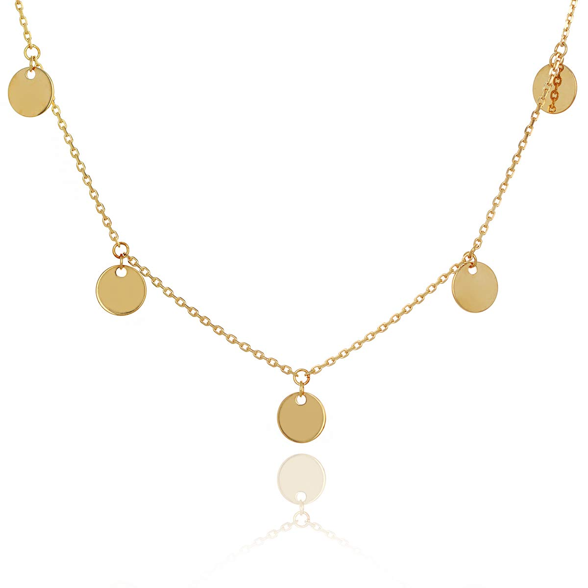 COODI Jewelry 14K Solid Gold Disc Charm Choker Necklace Fully Adjustable Length Layering Necklace (14K Yellow Gold)