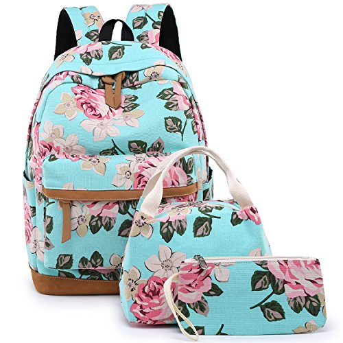 "BLUBOON School Backpack for Teens Girls Bookbags Set 15"" Women Laptop Bag + Lunch Bag + Pencil Case/Clutch Purse (Big Floral - Water Blue)"