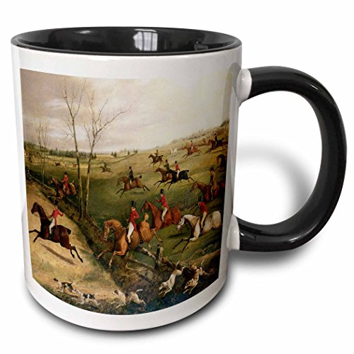 3dRose BLN Horses Fine Art Collection - The Oakley Hunt by Henry Thomas Alken - 15oz Two-Tone Black Mug (mug_129780_9)