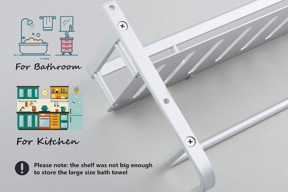 Chrasy Modern Aluminum Double Layer Towel Bar, Wall Mount Bathroom Storage and One Towel Bar, Bathroom Shelves with 2 Hooks, Towel Holders, Bath Towel Rack, Bath/Kitchen Storage Shelf(40cm/15.7in)