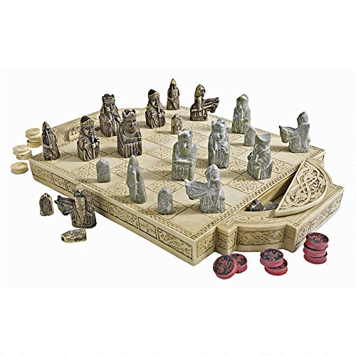 Design Toscano Isle of Lewis Chess Set with Board Box, 17 Inch, Polyresin, Ancient Ivory (Chess Isle Of Lewis)