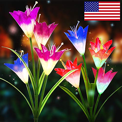 2 Pack Solar Garden Lights Outdoor,New Version Solar Flower Lights Outdoor with 8 Lily Flower Decorative Lights,Solar Flowers with 7 Colors,Color Changing LED flower Garden ()