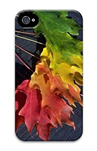 Green Yellow Red Maple Leaf Custom iPhone 4s/4 Case Cover Polycarbonate 3D