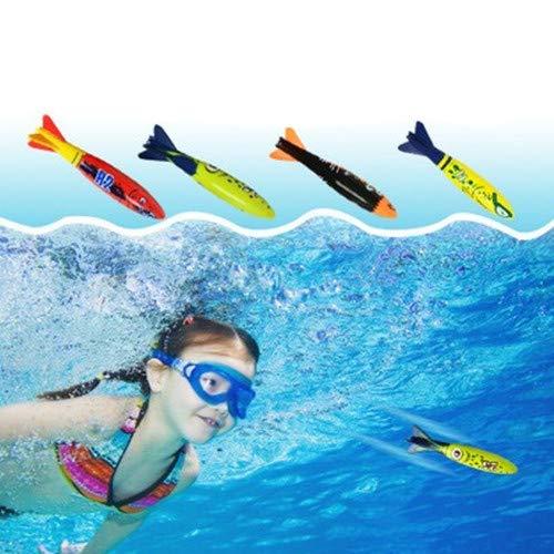 sous-Marine Piscine Jouets, 4 Jet de plongée Bandits torpilles Jouets pour Enfants Cadeau Ensemble. Jouets de plongée pour Apprendre à Nager
