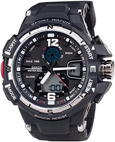 Multi-Function Sport Watch LED Digital Alarm 50M Waterproof Anti-knock Sports Watches Black+Silver