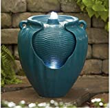 Essential Garden Teal Glazed Pot Fountain For Sale