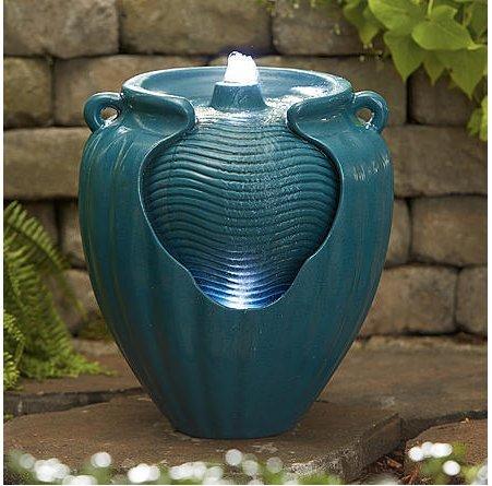 Essential Garden Teal Glazed Pot Fountain For Sale