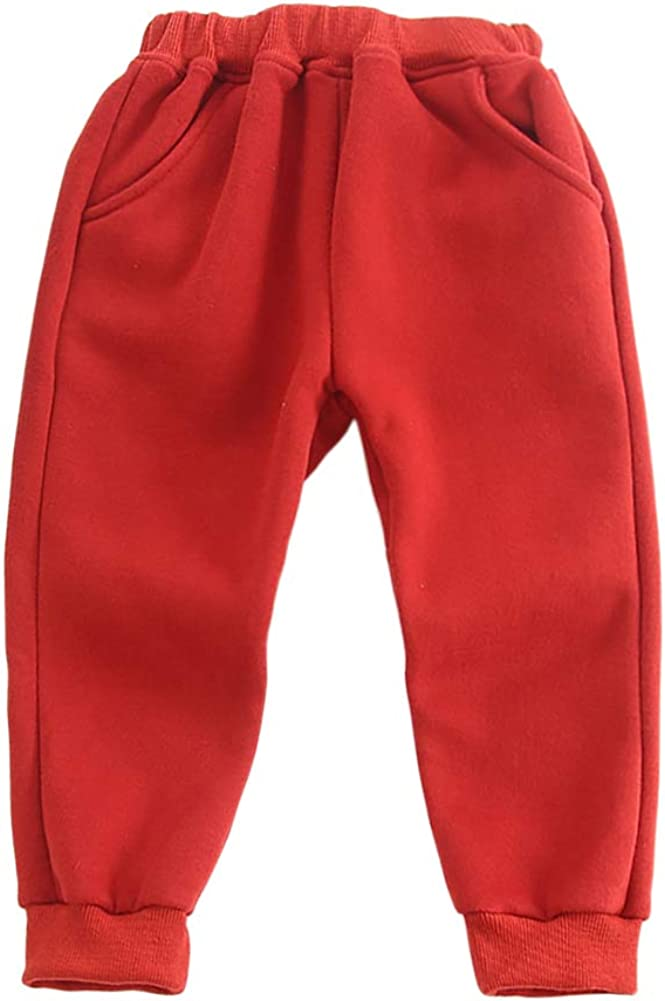HROUEN Kids Warm Casual Sweatpants Winter Fleece Lined Side Pockets Solid Color Baby Outerwear Trousers for Boy and Girl