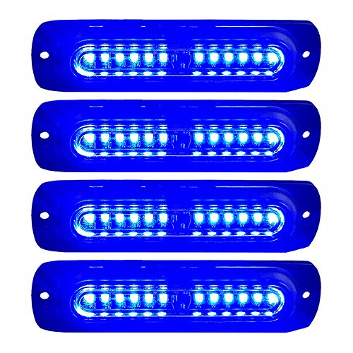 4pcs Ultra Slim 12-LED Surface Mount Grille Flashing Strobe Lights for Truck Car Vehicle Mini LED Light-Head Emergency Beacon Hazard Warning lights 12-24V - Led Flashing Blue