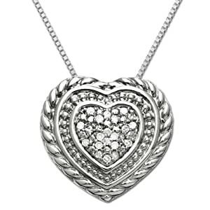 """Sterling Silver Textured Diamond Heart-Shaped Pendant Necklace , 18"""""""