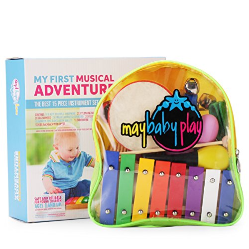 Xylophone Musical Instrument Educational Toys Set - MayBabyPlay My First Musical Adventure | Kids Percussion Box | with Jingle Bells and Maracas | Toddler Pre-School Kindergarten | Ebook and Backpack