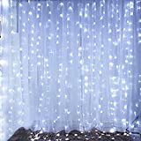 Bjour BGGD-6 18W Curtain Icicle Lights Christmas String Fairy Light Cool White, 600 LEDs, 8 Lighting Modes, 20ft Length x 10ft Width