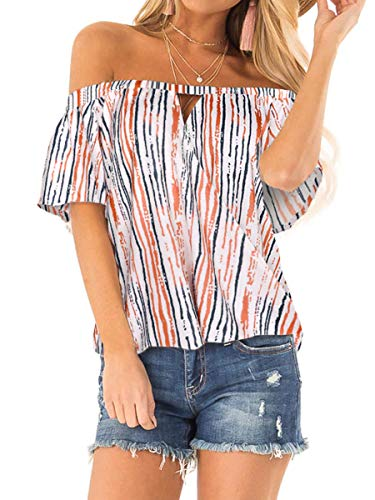 SAMPEEL Womens Short Sleeve Casual Shirts Summer Beach Striped Tops Colours XL