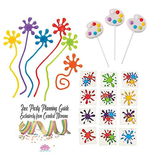Art Party Favor Bundle for 12 Including Paint Palette Suckers, Splatter Sticky Hands and Paint Splash Tattoos | Great for Kids Classroom, Birthday & Painting Parties (96 Total Pieces) -