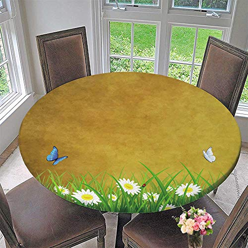Simple modern round table cloth Antique Old Planks American Style Western Rustic Wooden and white daisies, grass and butterflies for daily use, wedding, restaurant 59