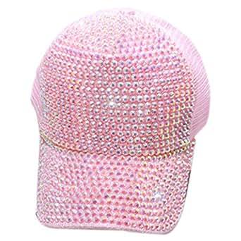 SODIAL Baseball Cap With Rhinestones Bling Luxury Women'S Cap Summer Casual Mesh Sun Visor Hat Adjustable Hip Hop Pink