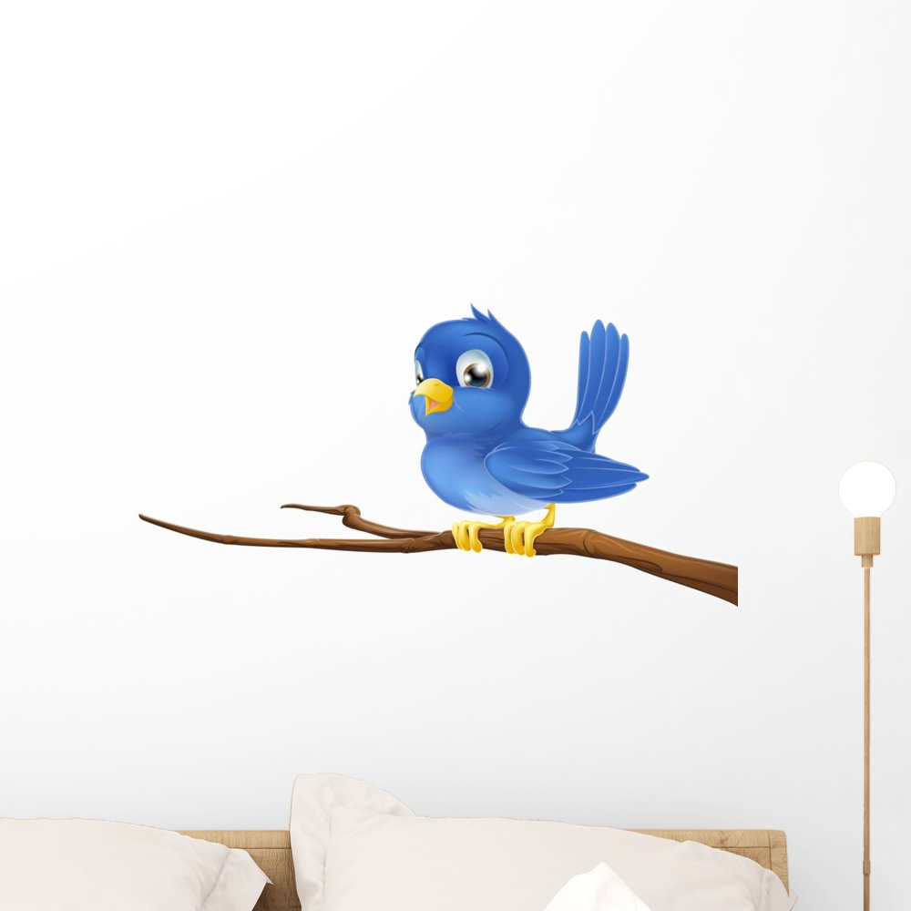 Wallmonkeys Bluebird Tree Branch Wall Decal Peel and Stick Graphic (24 in W x 14 in H) WM309789