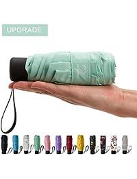 mini Travel sun&rain Umbrella - Light Compact Parasol with 95% UV Protection for Men Women Multiple Colors