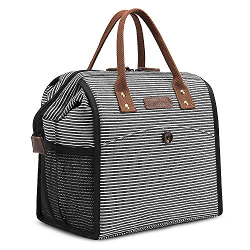 CoolBELL Lunch Bags For Women Lunch Tote Water-Resistant Cooler Bag Soft Leak Proof Lunch Box Insulated Lunch Holder With Wide Opening for Men/Women/Girl/Office / (Black Stripe)
