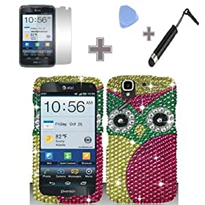Full Diamond Green Yellow OWL Green Eyes Snap on Hard Case Skin Cover Faceplate with Screen Protector, Case Opener and Stylus Pen for Pantech Flex / P8010 - AT&T