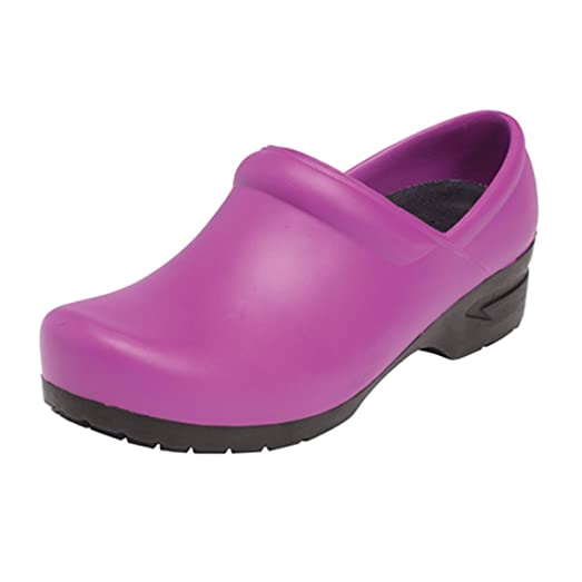 Closed Back Plastic Clog  Plum Candy Size 8